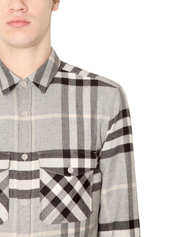 Burberry brit classic check wool flannel shirt in gray for for Mens wool flannel shirt