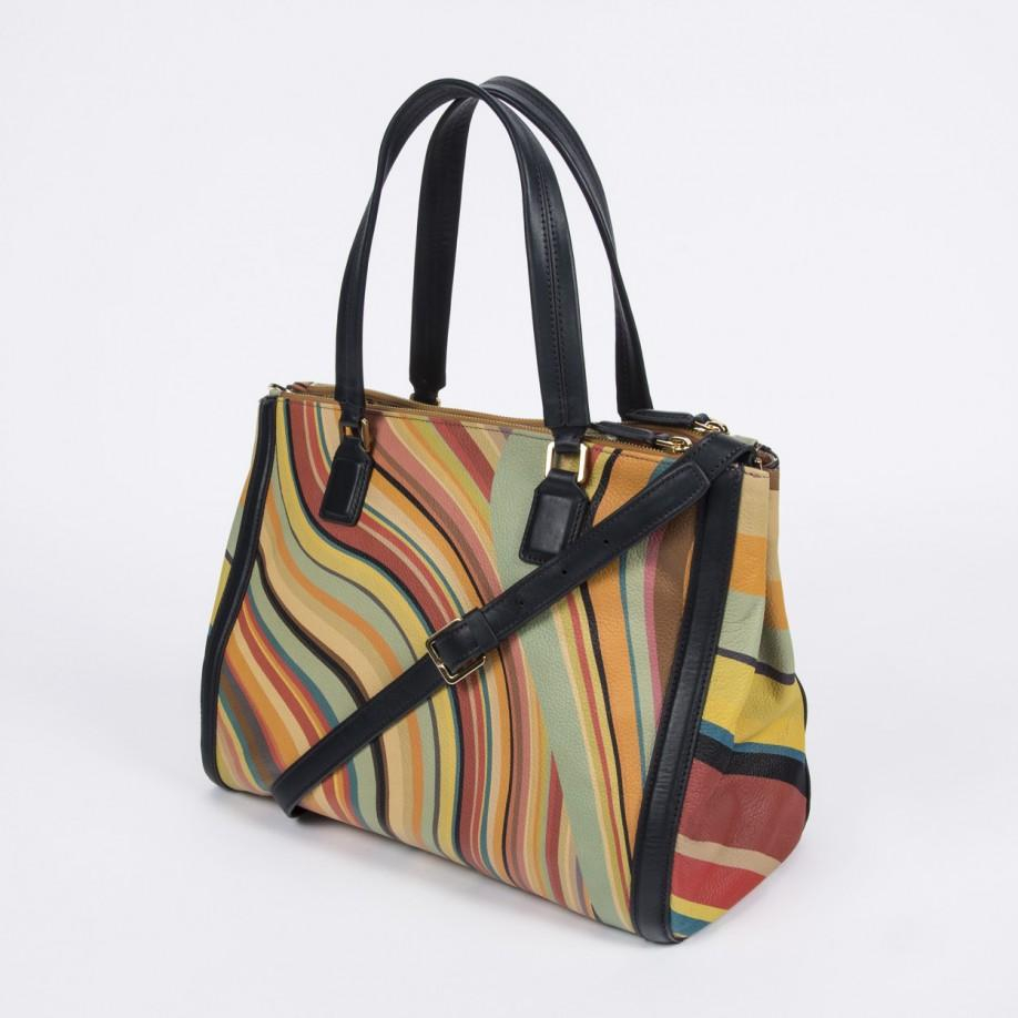 3049bb45588a Lyst - Paul Smith  Swirl  Print Calf Leather Double Zip Tote Bag
