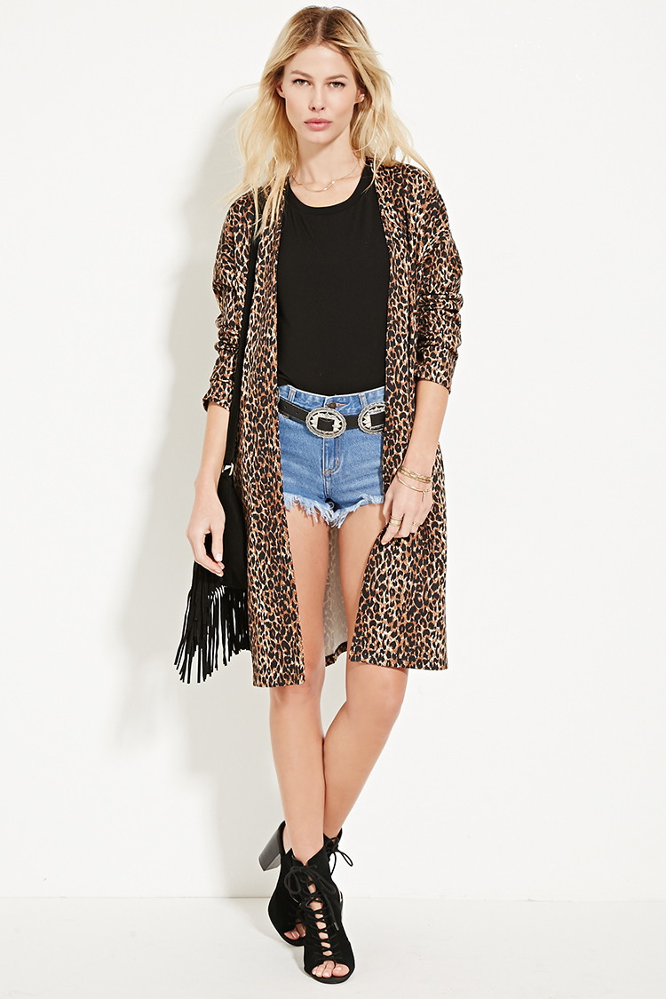 Forever 21 Leopard Print Longline Kimono You've Been Added To The ...