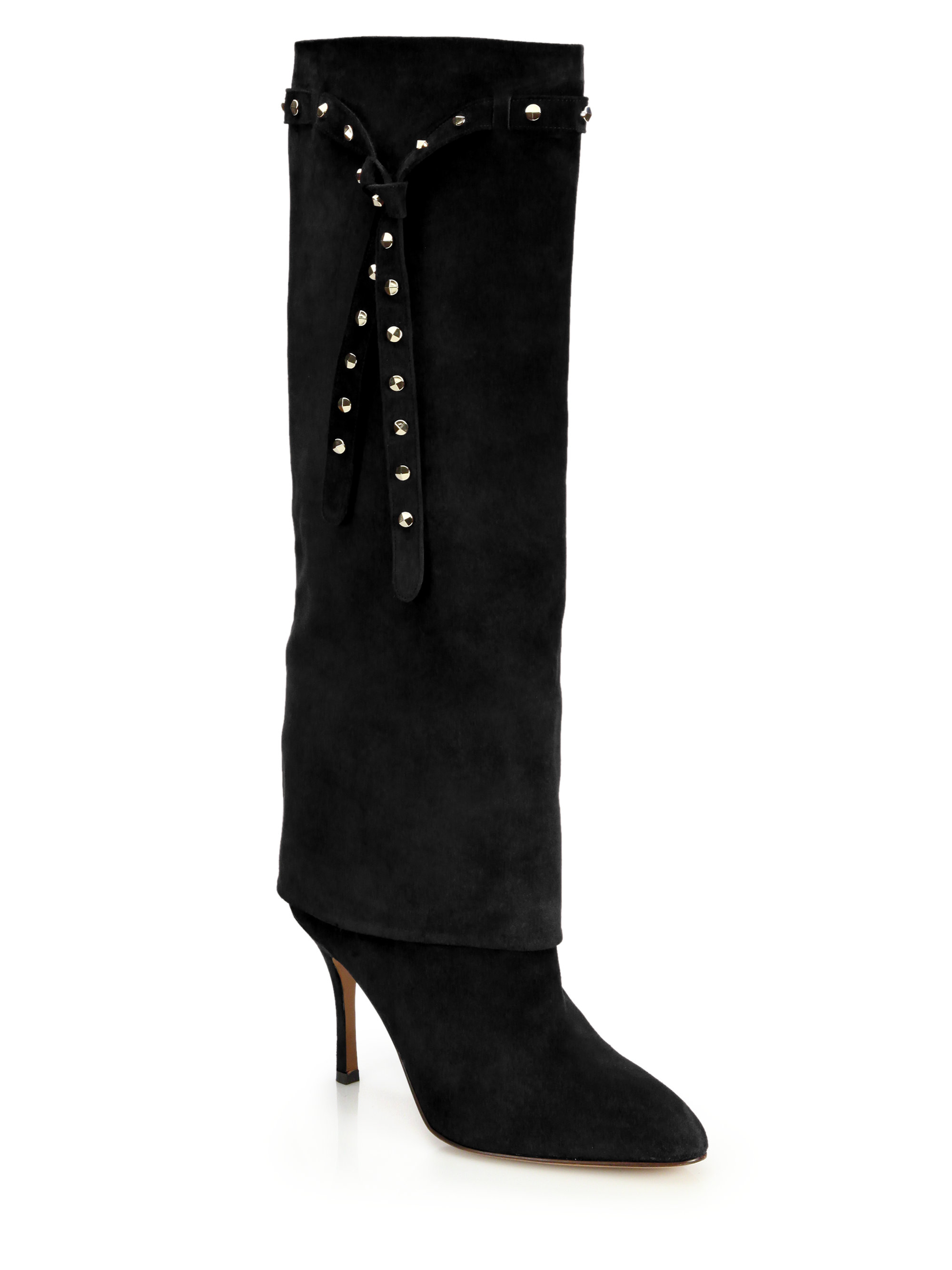 Valentino105MM BOOTSTUDS SLOUCHY SUEDE BOOTS F7xJF