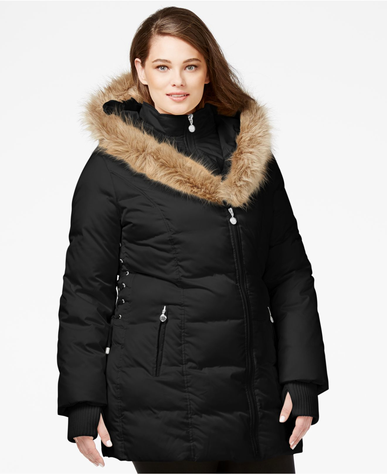 Betsey johnson Plus Size Faux-fur-trim Quilted Puffer Coat in