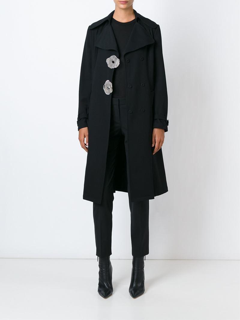 Lyst J W Anderson Flower Button Coat In Black
