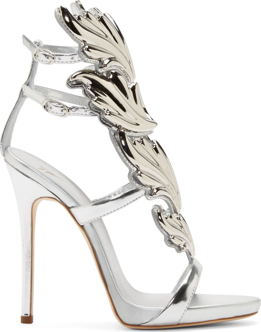 f6252ba8a19 Lyst - Giuseppe Zanotti Silver Leather Wing Decal Kanye West Edition ...