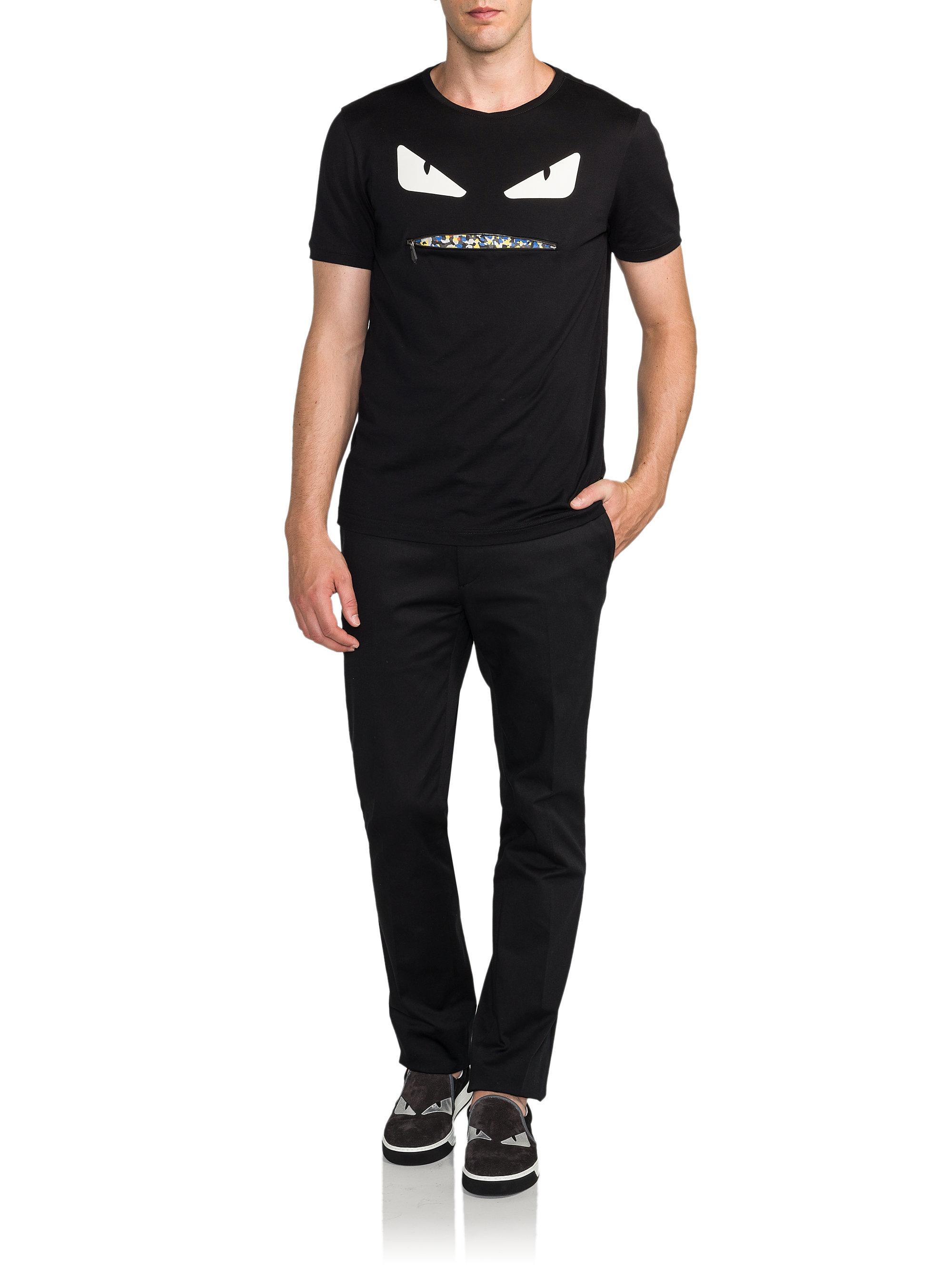 lyst fendi monster zip granite mouth shirt in black for men