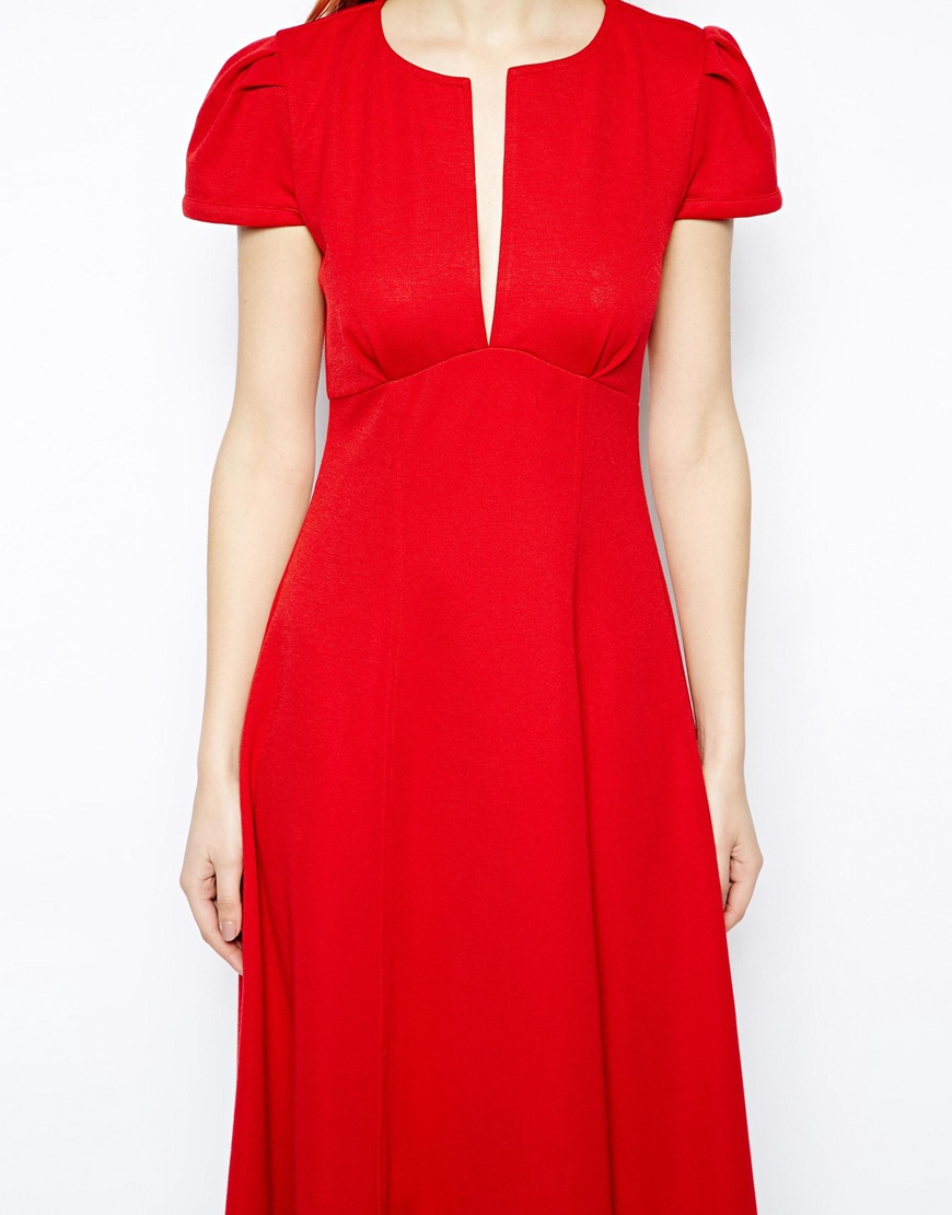 Asos Midi Dress With Fit And Flare Skirt In Red Lyst