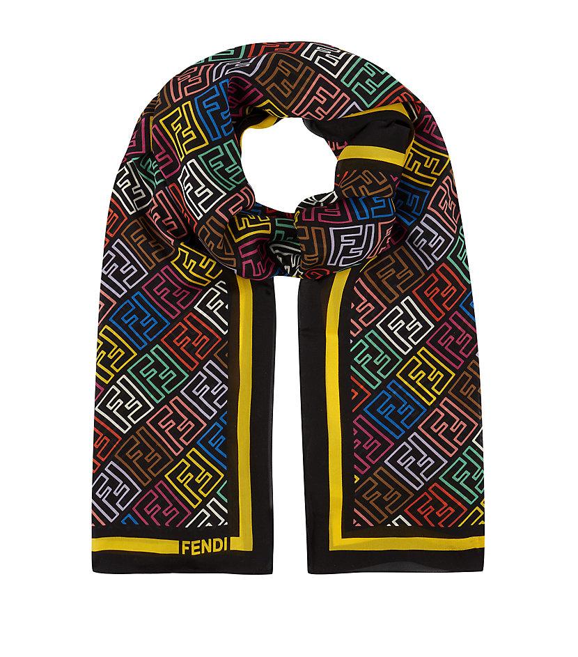 4abc25b27b3 ... best price fendi logo silk scarf in black lyst bef96 d04ba