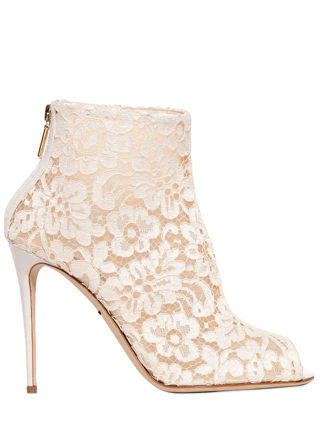 Dolce & Gabbana 105mm Beth Mesh Lace Peep-toe Boots in White