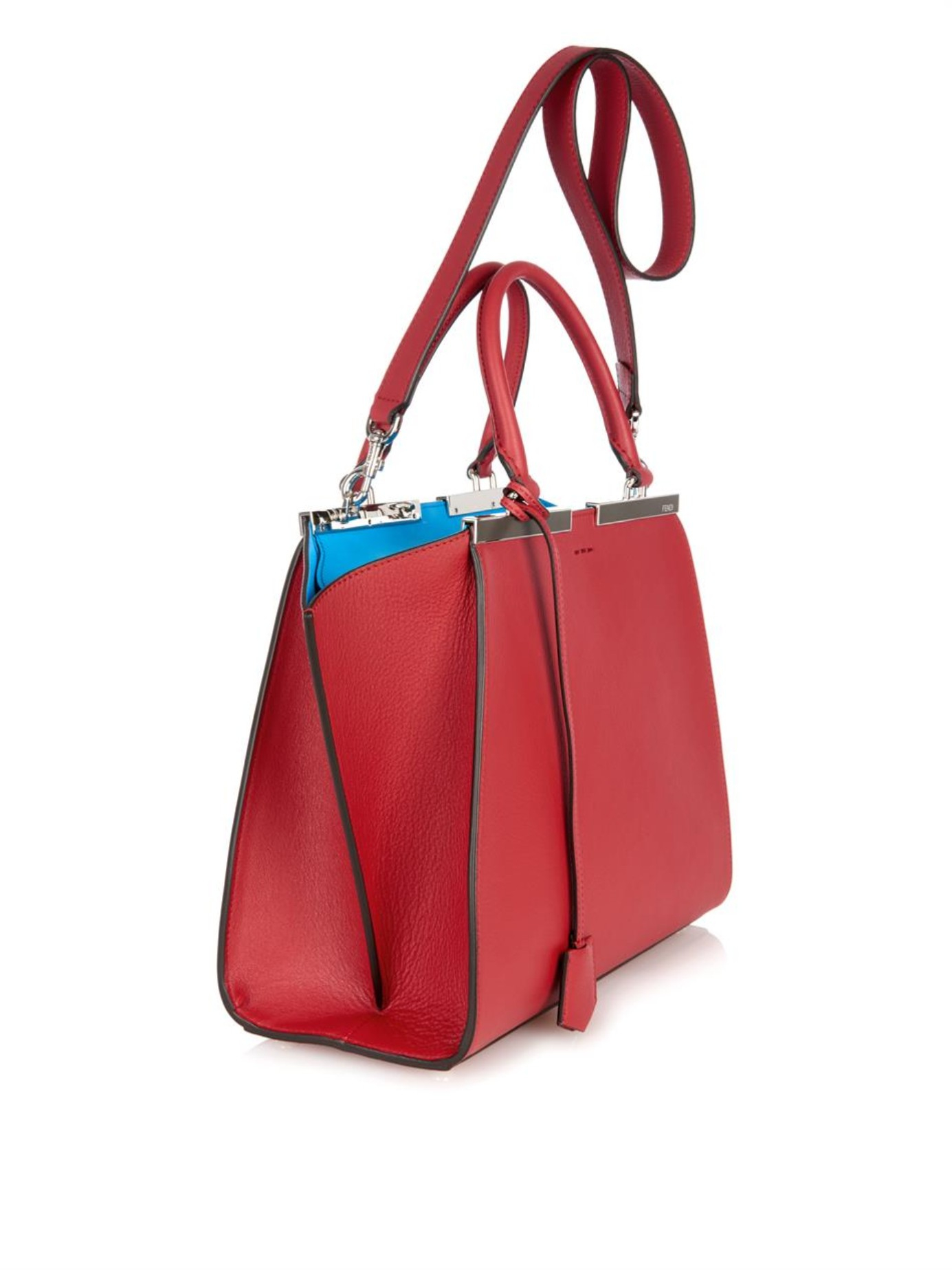 Fendi 3jours Small Leather Trapeze Tote in Red (RED MULTI)  9eecf08702d60