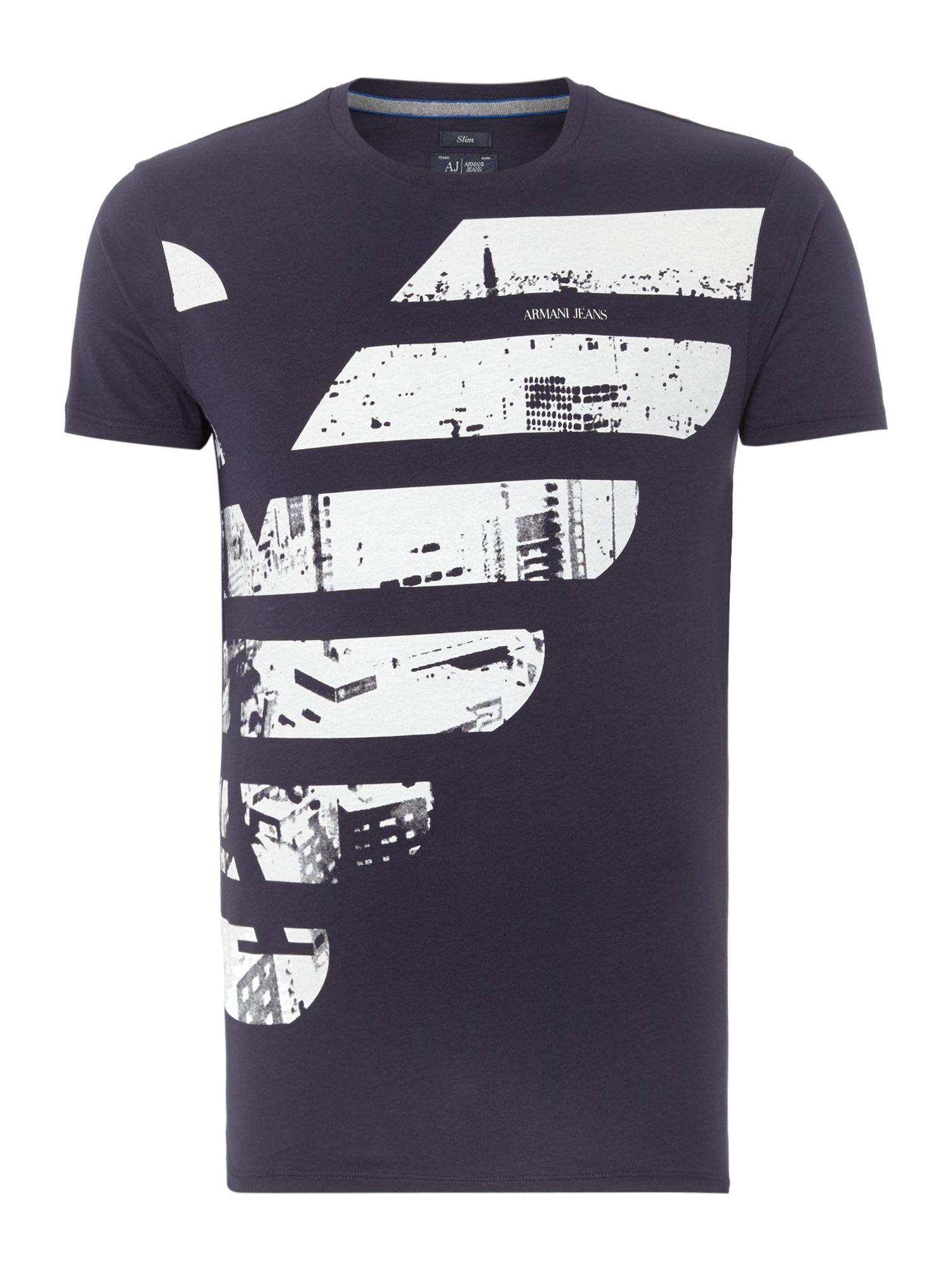 armani jeans slim fit half eagle logo printed t shirt in white for men lyst. Black Bedroom Furniture Sets. Home Design Ideas