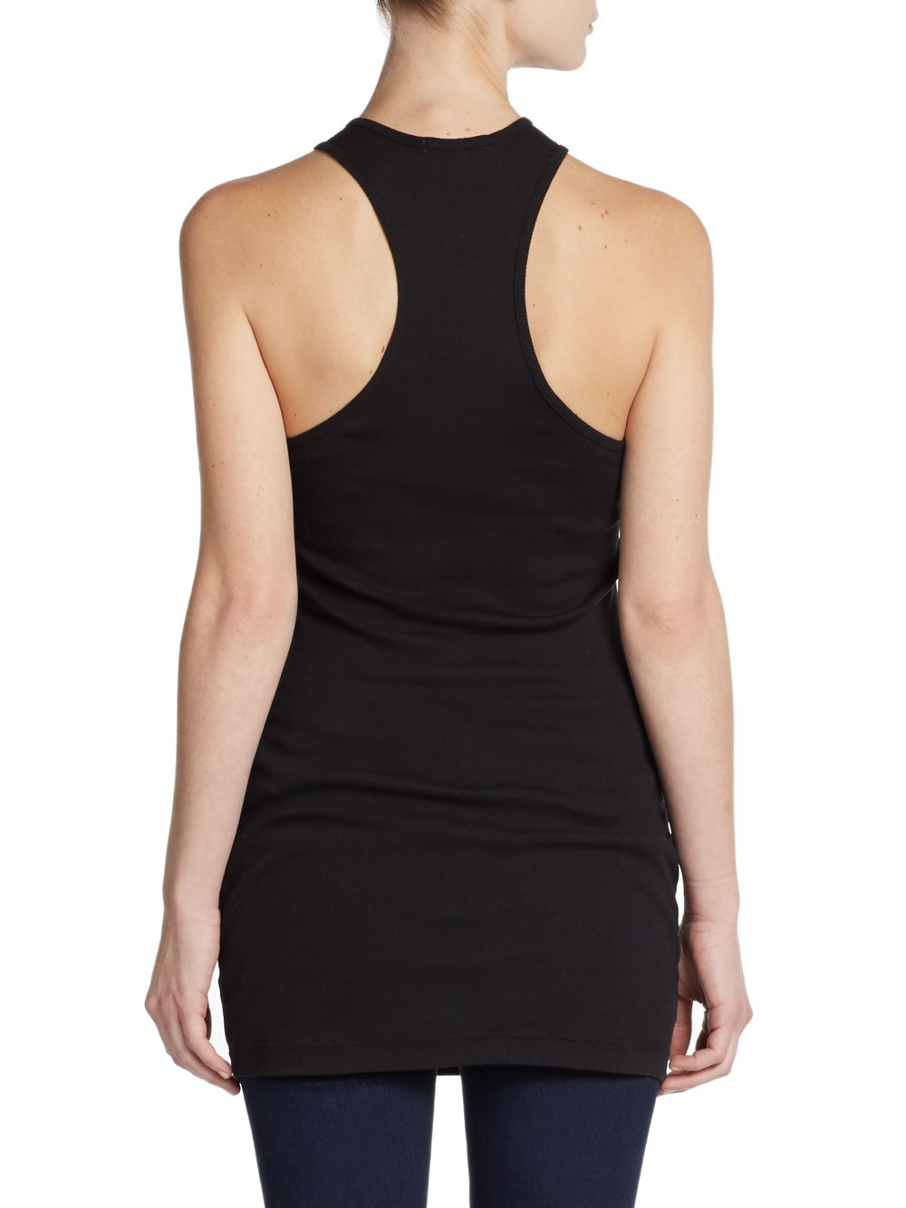 efbb59944bcfe Lyst - James Perse Long Ribbed Racerback Tank in Black
