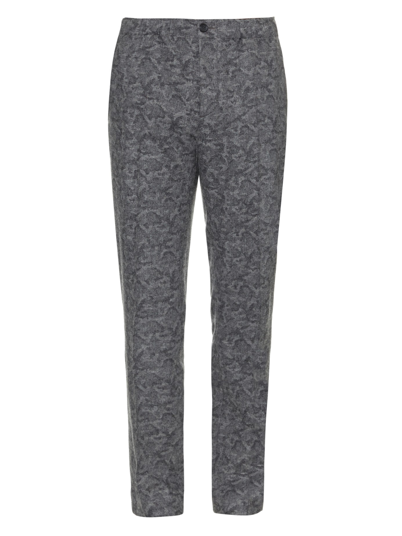 Maison Kitsuné Camouflage-print Wool Trousers in Grey (Grey) for Men
