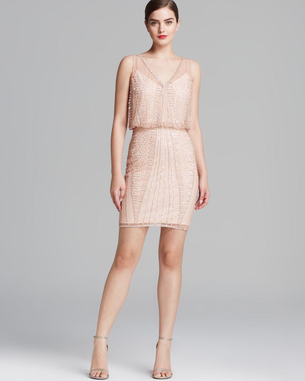 9f976e37f8 Lyst - Adrianna Papell Dress V Neck Beaded Blouson in Natural