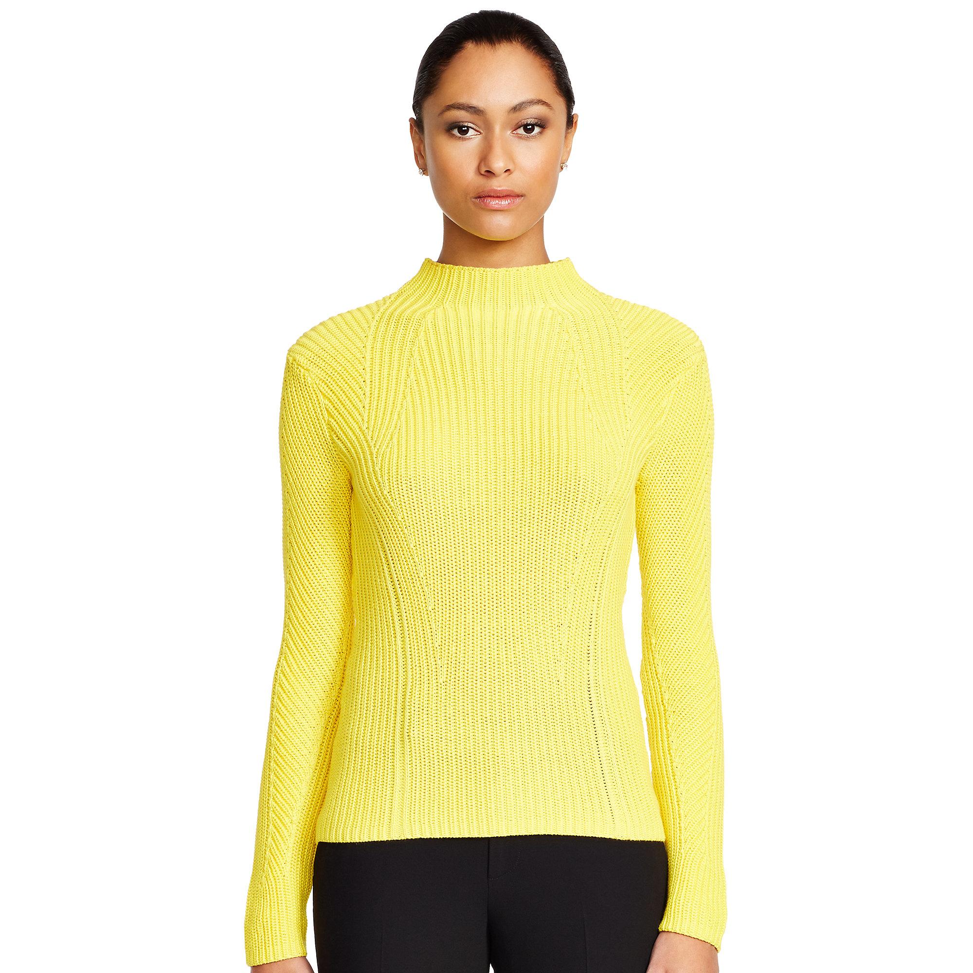 Ralph lauren black label Cotton-silk Mockneck Sweater in Yellow | Lyst