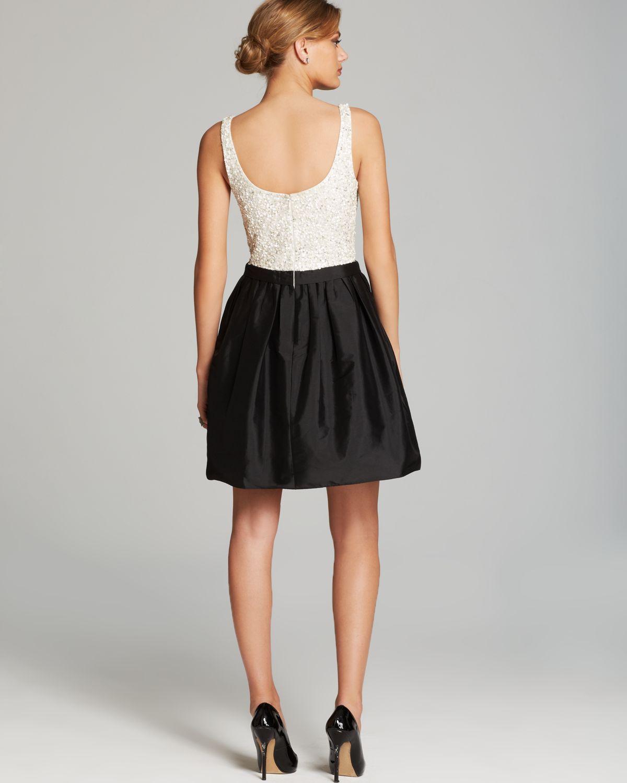 Aidan Mattox Dress Sleeveless Beaded Bodice Taffeta Skirt