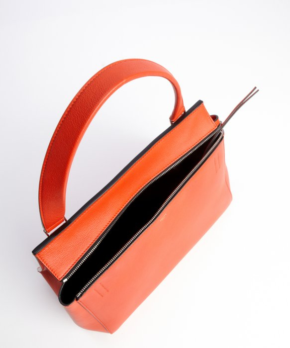 C¨¦line Orange Calfskin Edge Top Handle Bag in Orange | Lyst