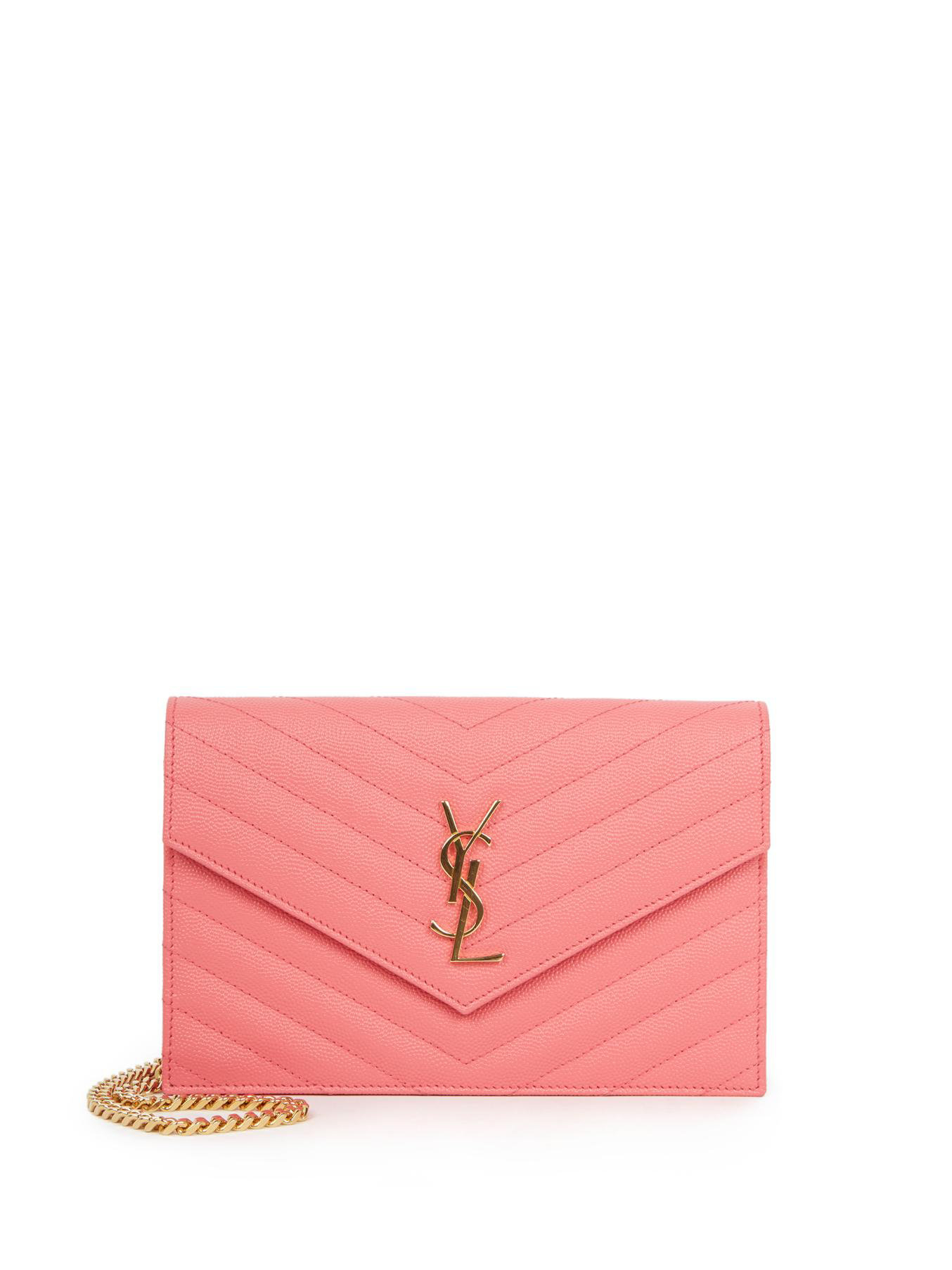 Monogram Saint Laurent Chain Wallet In Silver Grained Metallic Leather