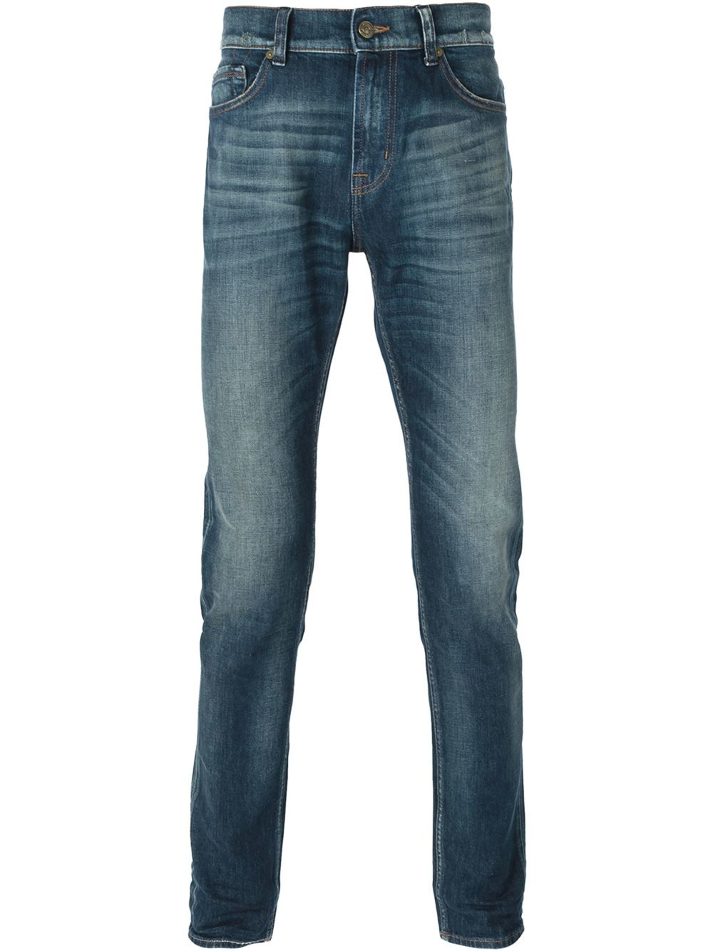 for all mankind 39 ronnie 39 skinny jeans in blue for men lyst. Black Bedroom Furniture Sets. Home Design Ideas