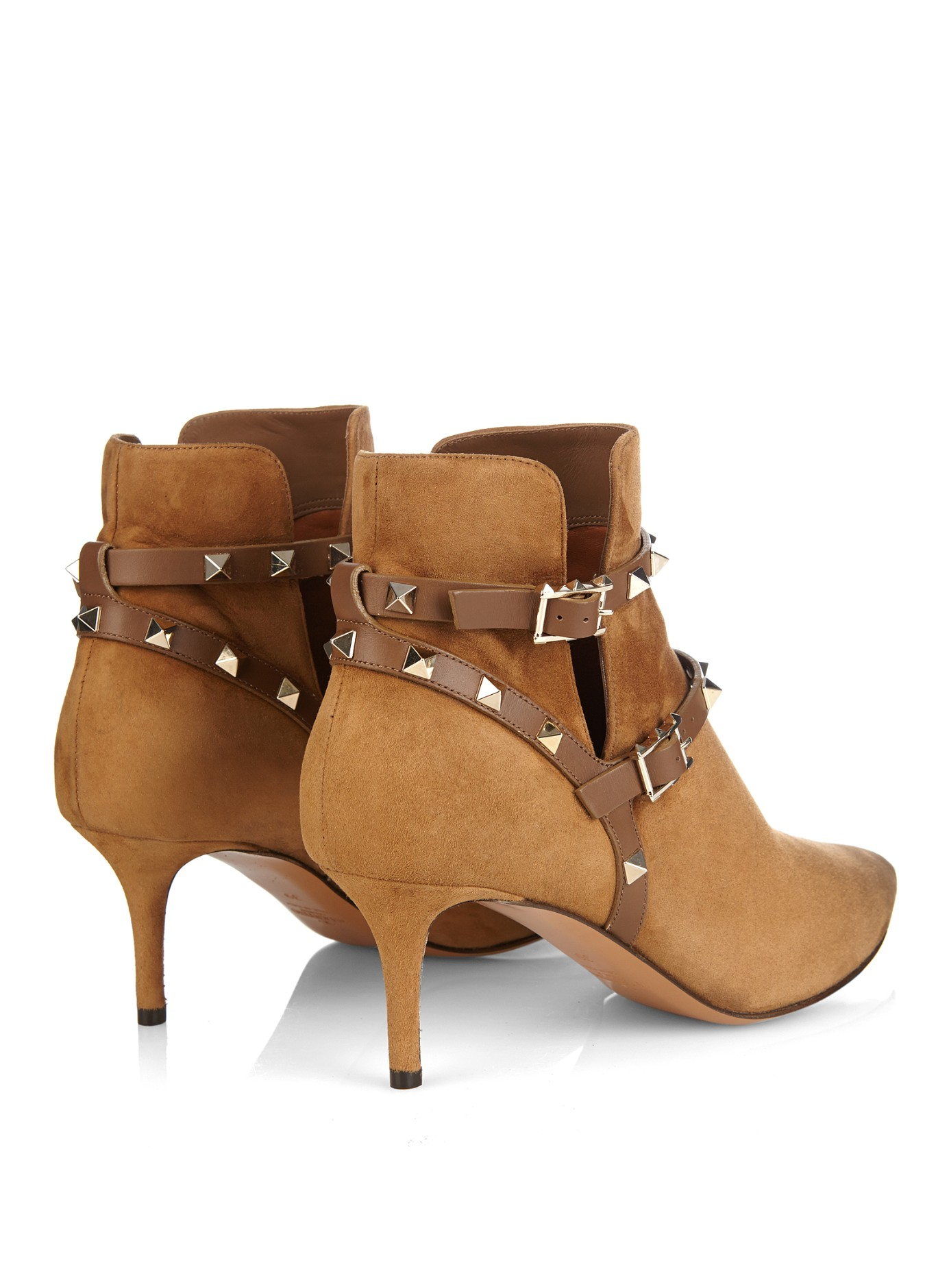 valentino rockstud suede ankle boots in brown | lyst