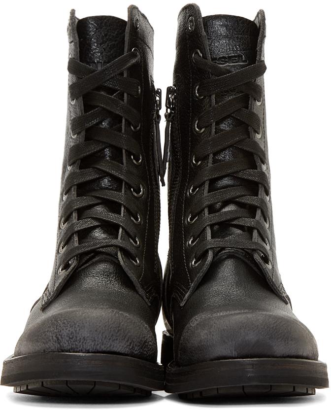 DIESEL Black Leather D_komtop Combat Boots in Black for ...