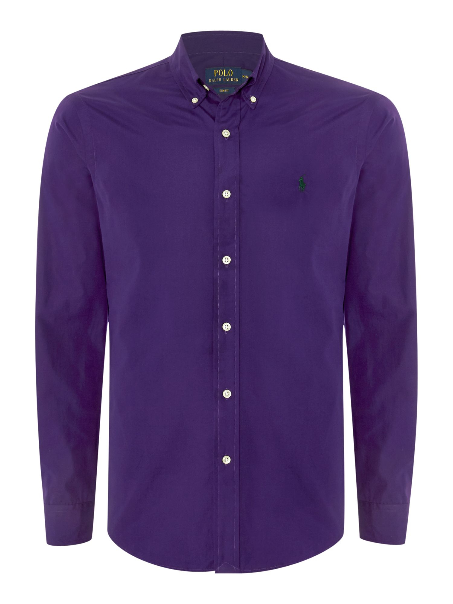 Polo ralph lauren long sleeve slim fit plain shirt in for Long sleeve purple polo shirt
