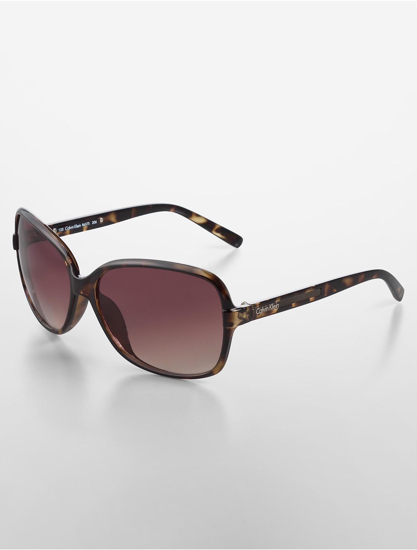 Calvin klein White Label Oversized Square Frame Sunglasses in Brown | Lyst