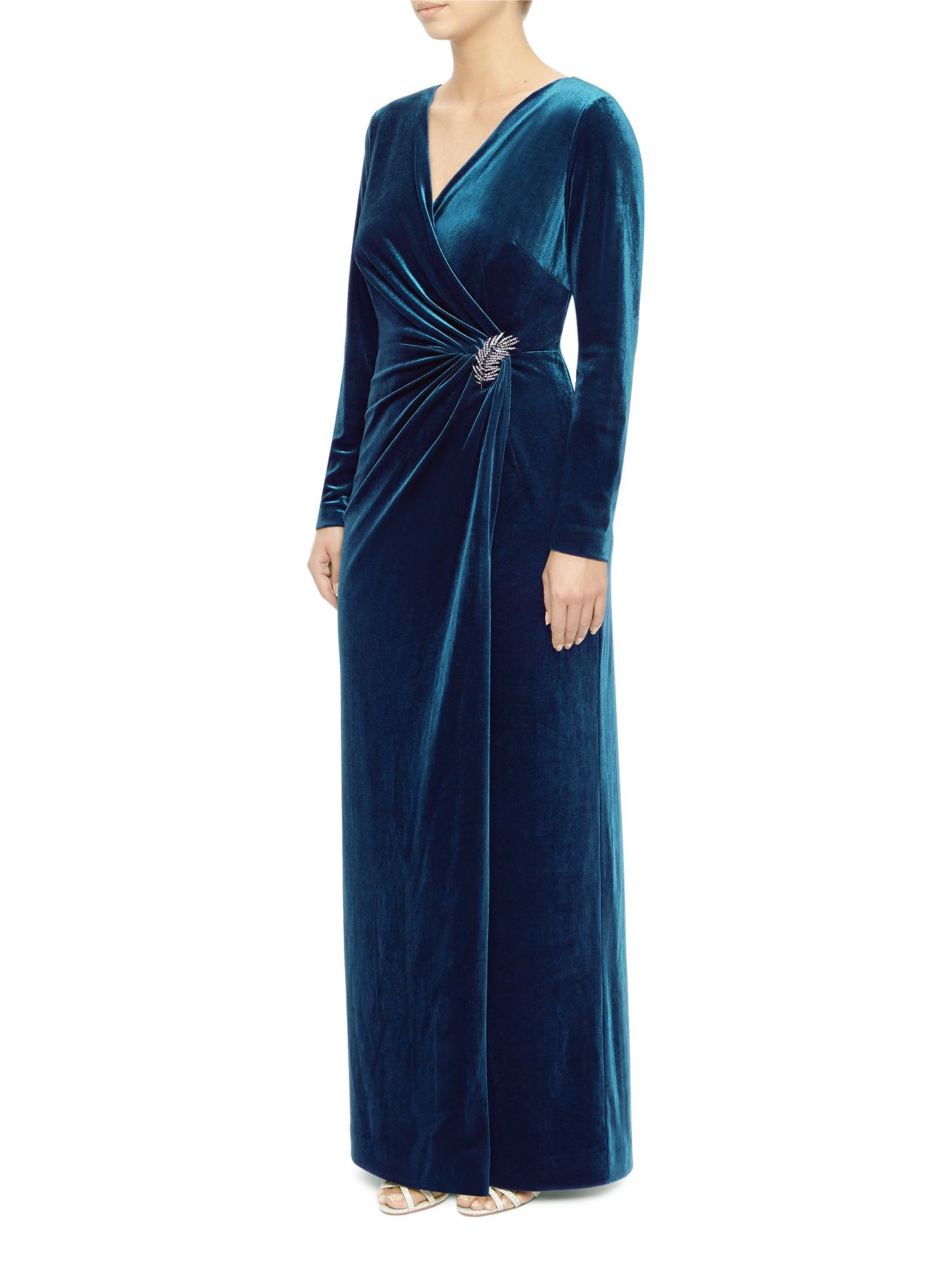 Jacques vert Velvet Maxi Dress in Blue | Lyst