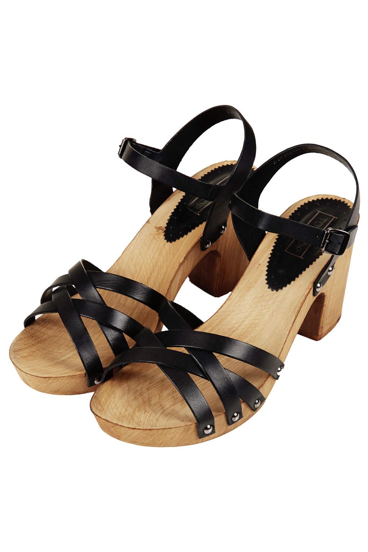 Topshop Black Nancy Sandals Chunky Wooden Ybg6fy7