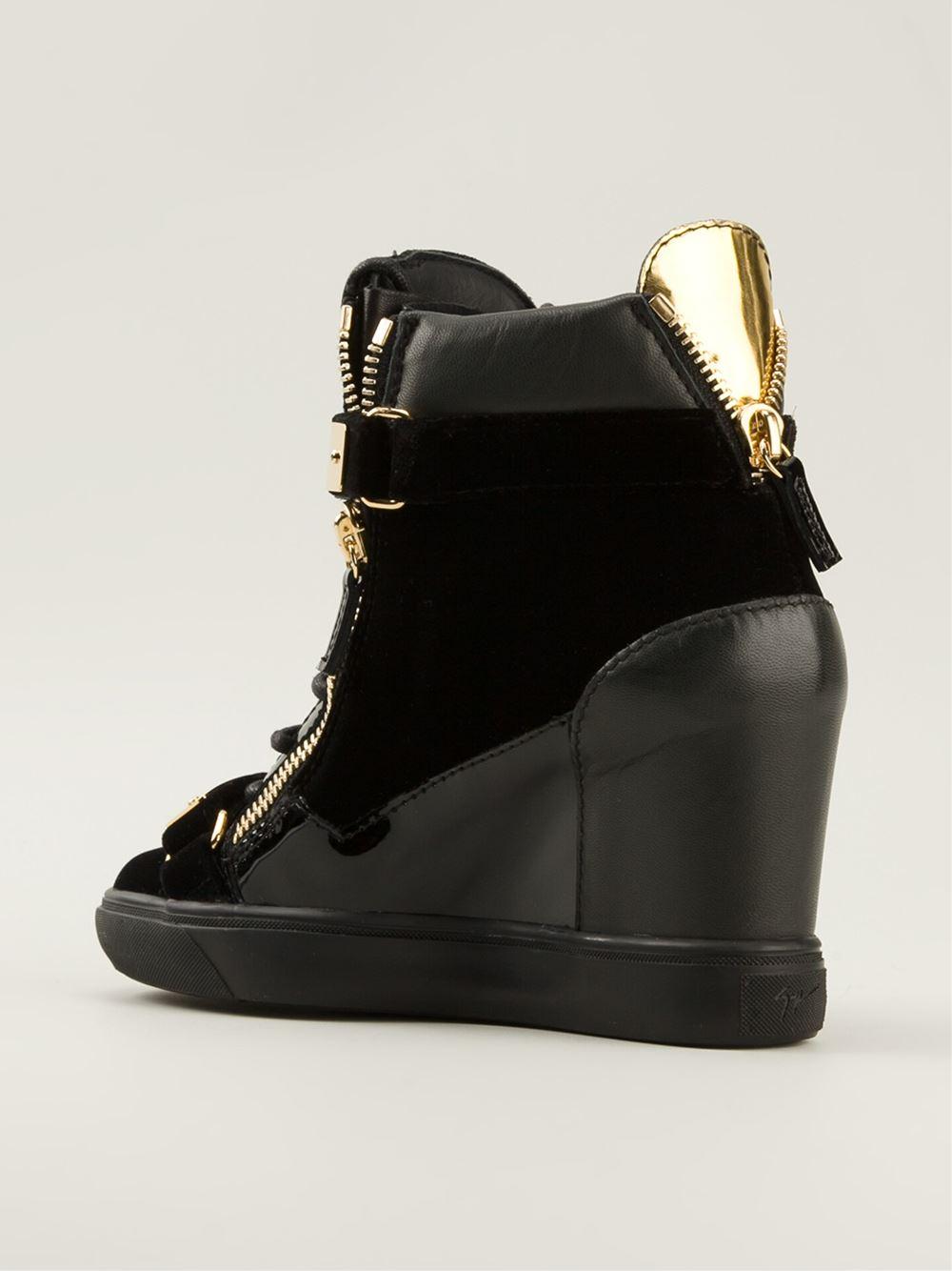 Giuseppe zanotti Golden Strap Wedge Sneakers in Black | Lyst
