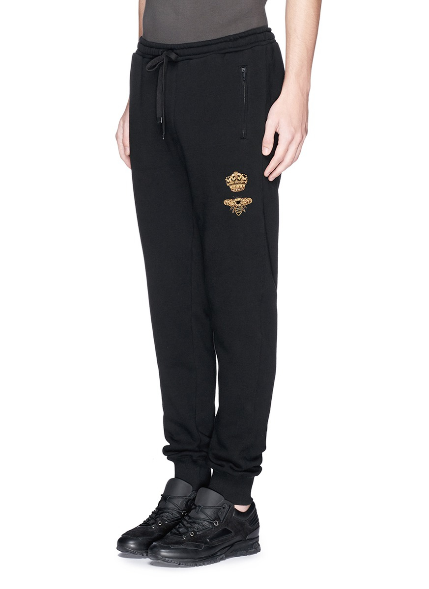 Dolce Amp Gabbana Crown And Bee Embroidery Jogging Pants In