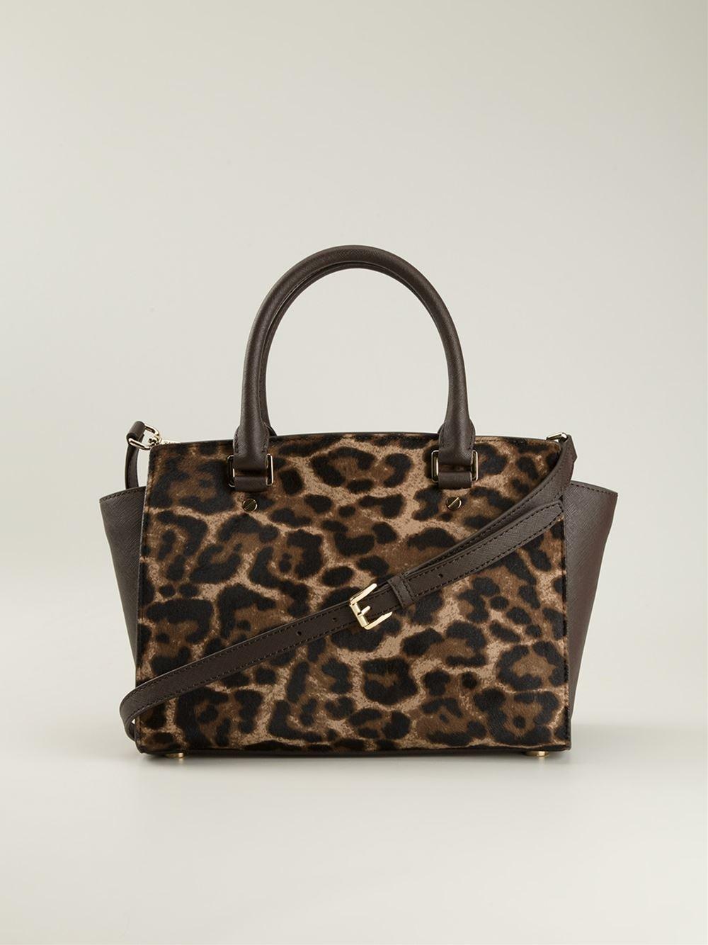 michael michael kors brown large selma leopard satchel. Black Bedroom Furniture Sets. Home Design Ideas
