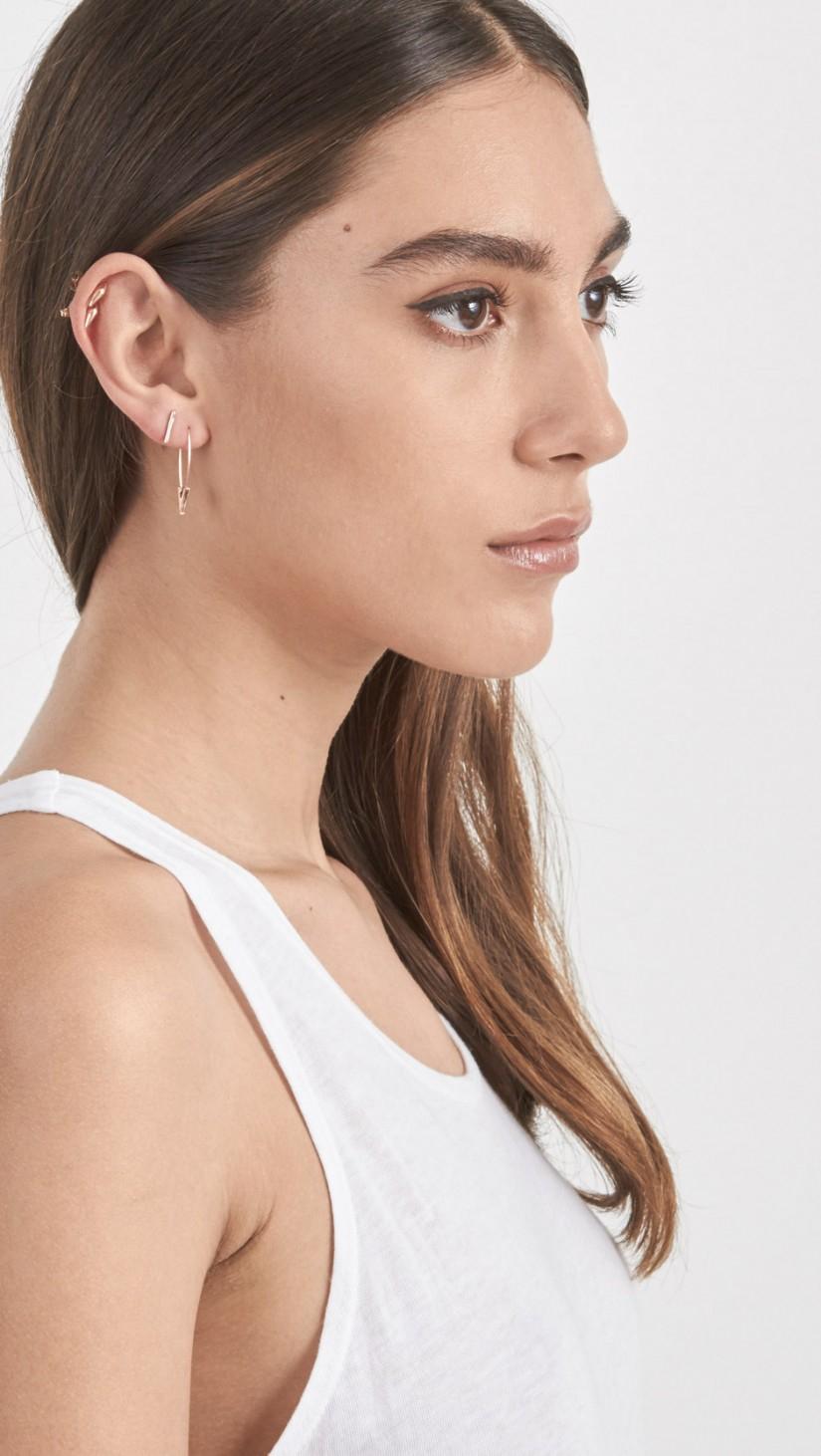 cff81a58b4960 Loren Stewart Metallic Triangle Safety Pin Earrings