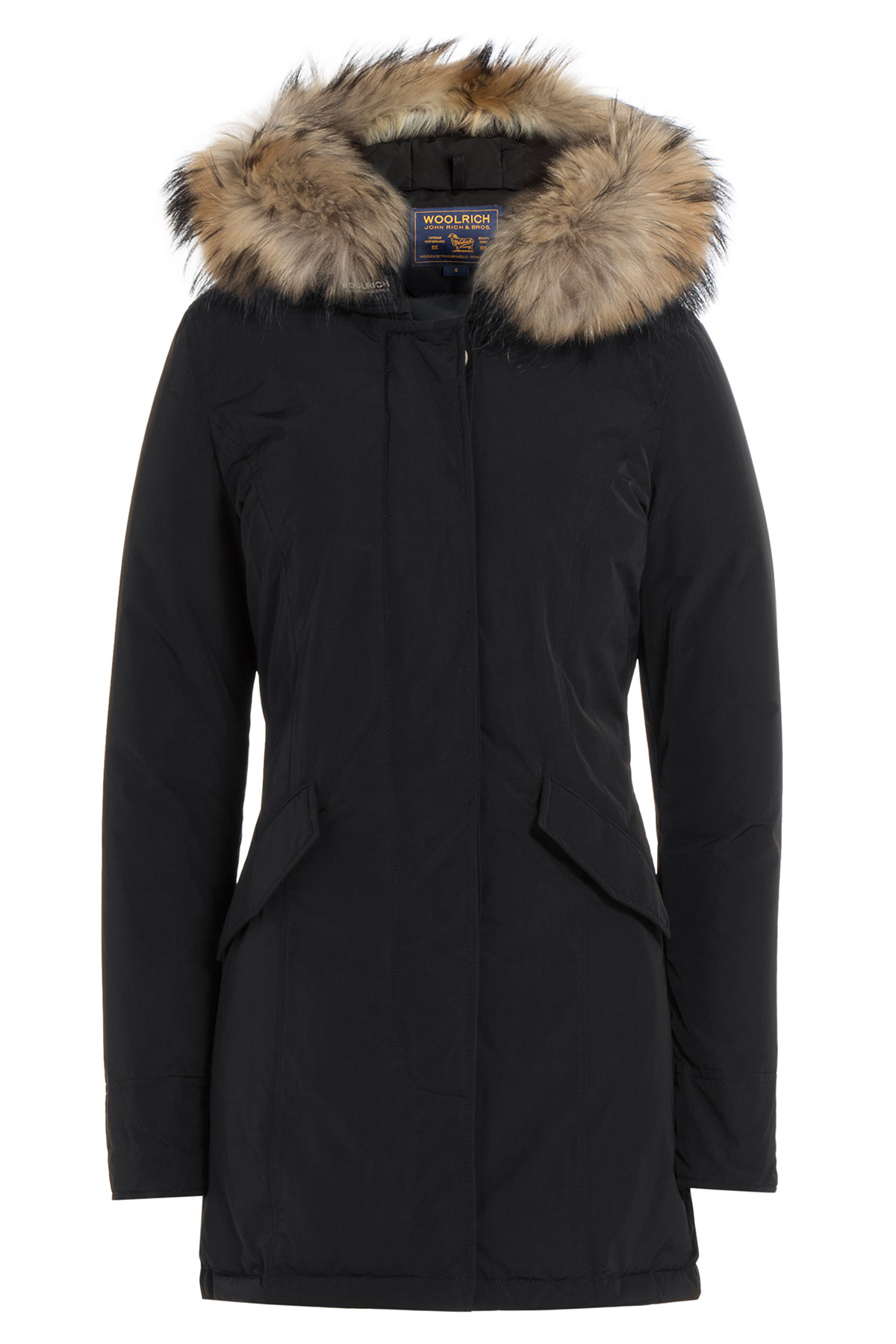 woolrich luxury arctic down parka with fur trimmed hood black in black lyst. Black Bedroom Furniture Sets. Home Design Ideas