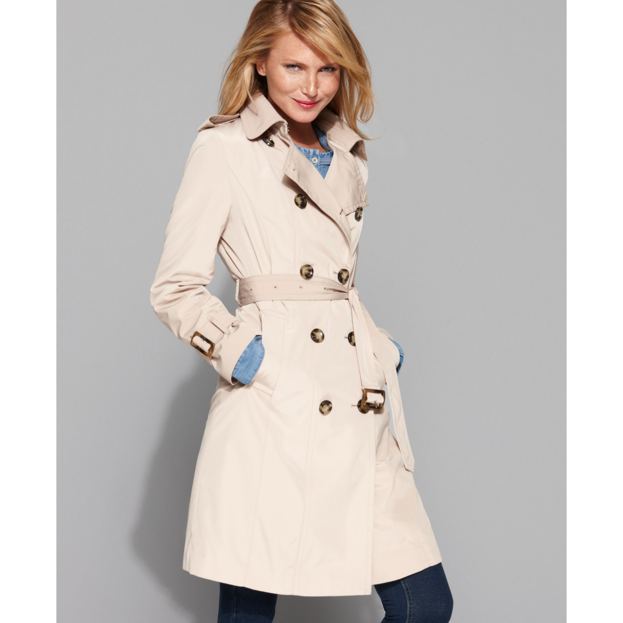 bbb527ace6d Lyst - London Fog Double Breasted Belted Trench Coat in Natural