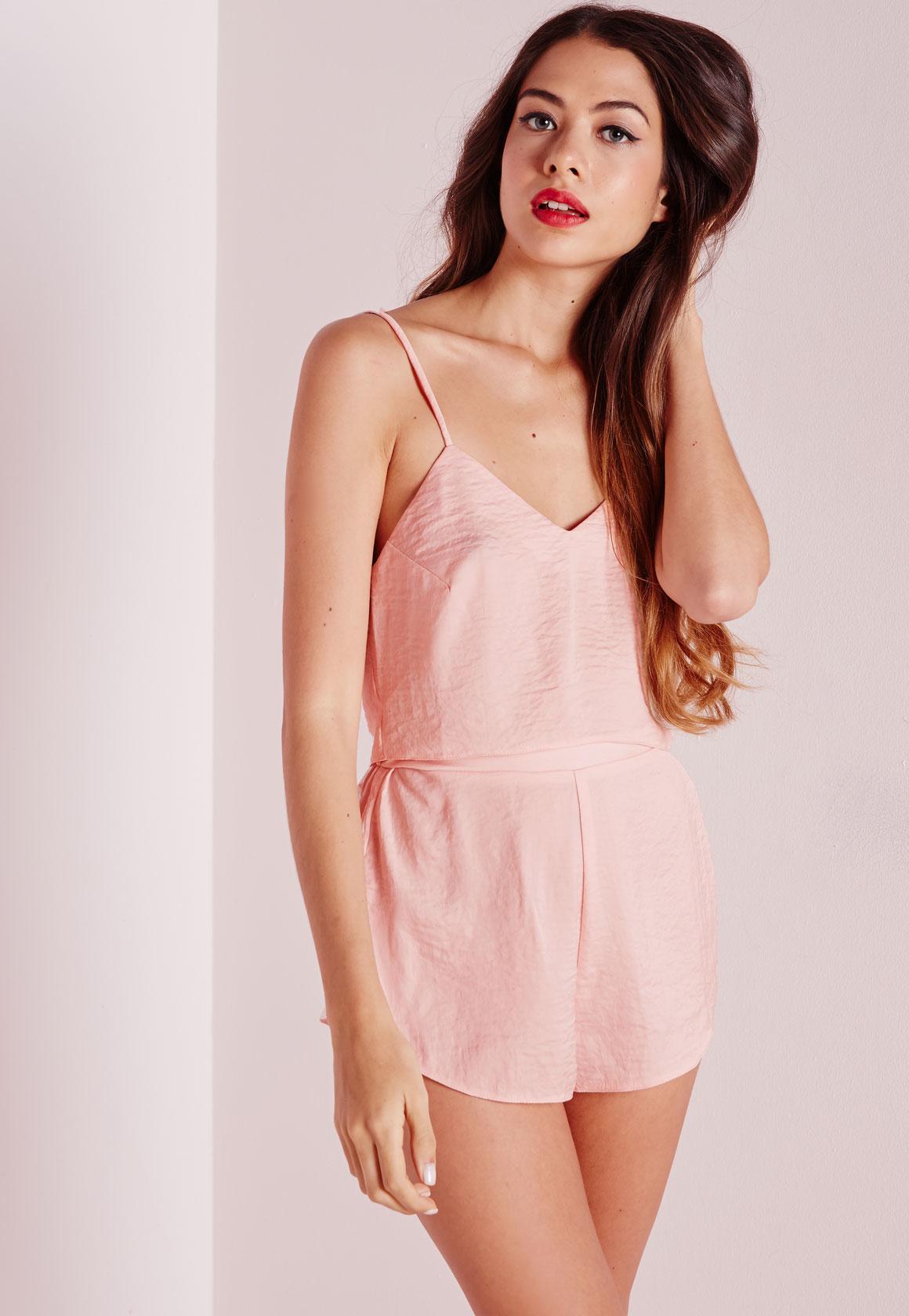 c88bab1981e8 Lyst - Missguided Satin Cropped Pajama Set Blush in Pink