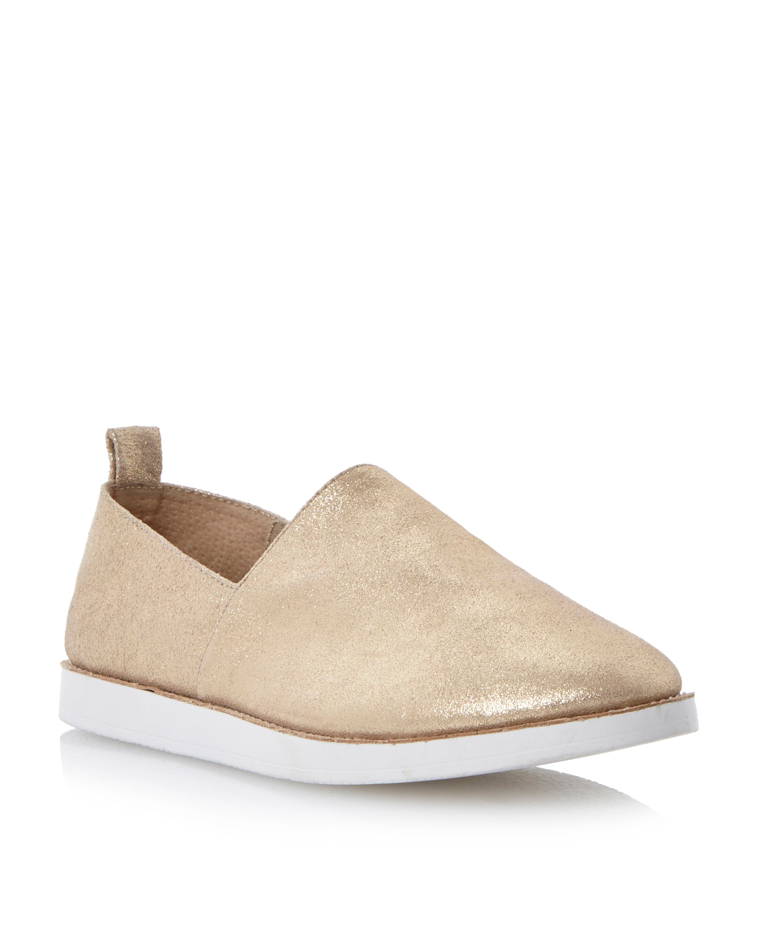 steve madden acction suede slip on shoes in metallic lyst