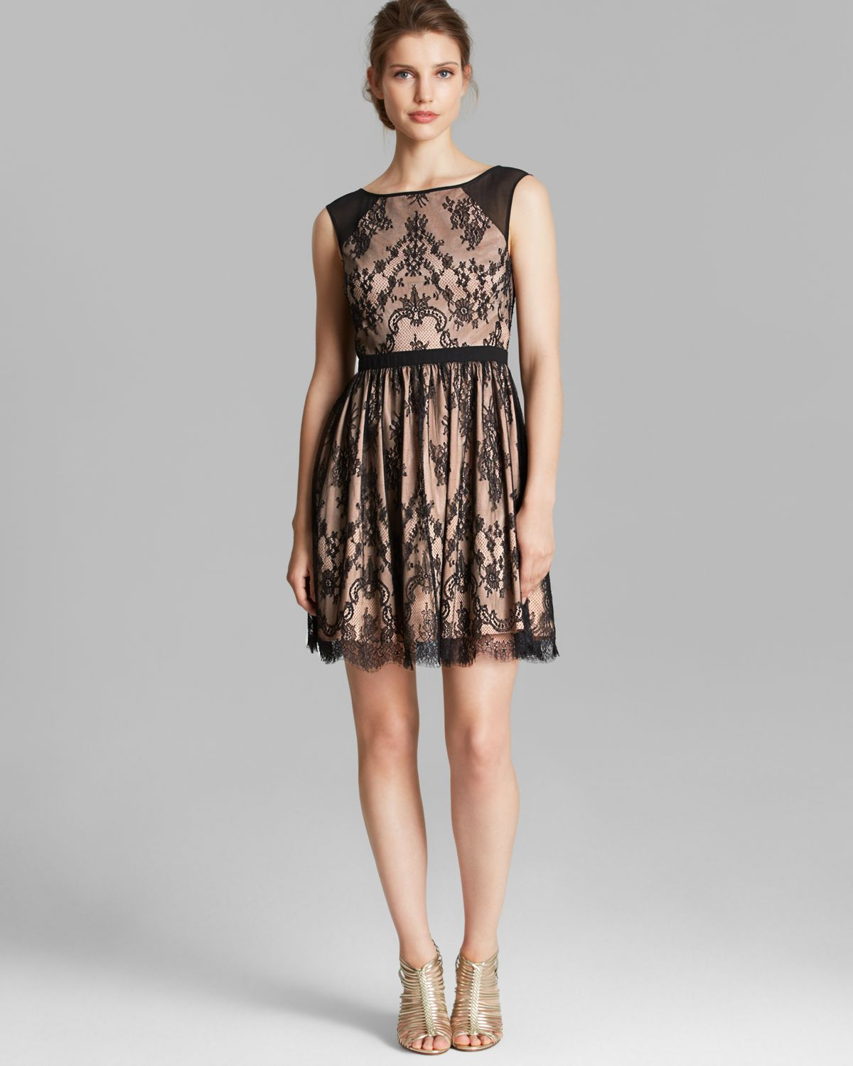 Aidan Mattox Dress Sleeveless Lace Fit And Flare In