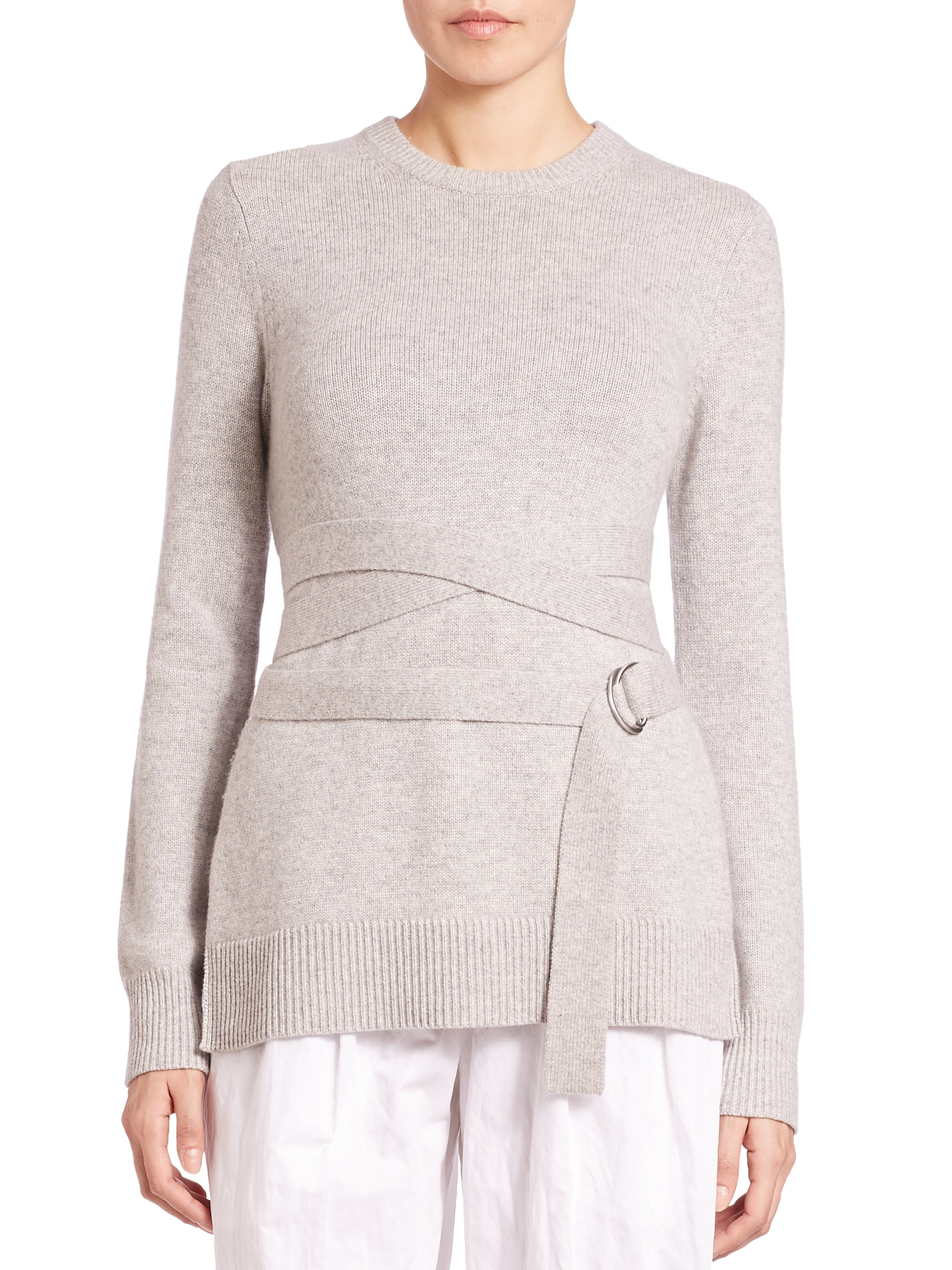 Lyst - Michael Kors Belted Cashmere Sweater in Gray 312a2ba3c