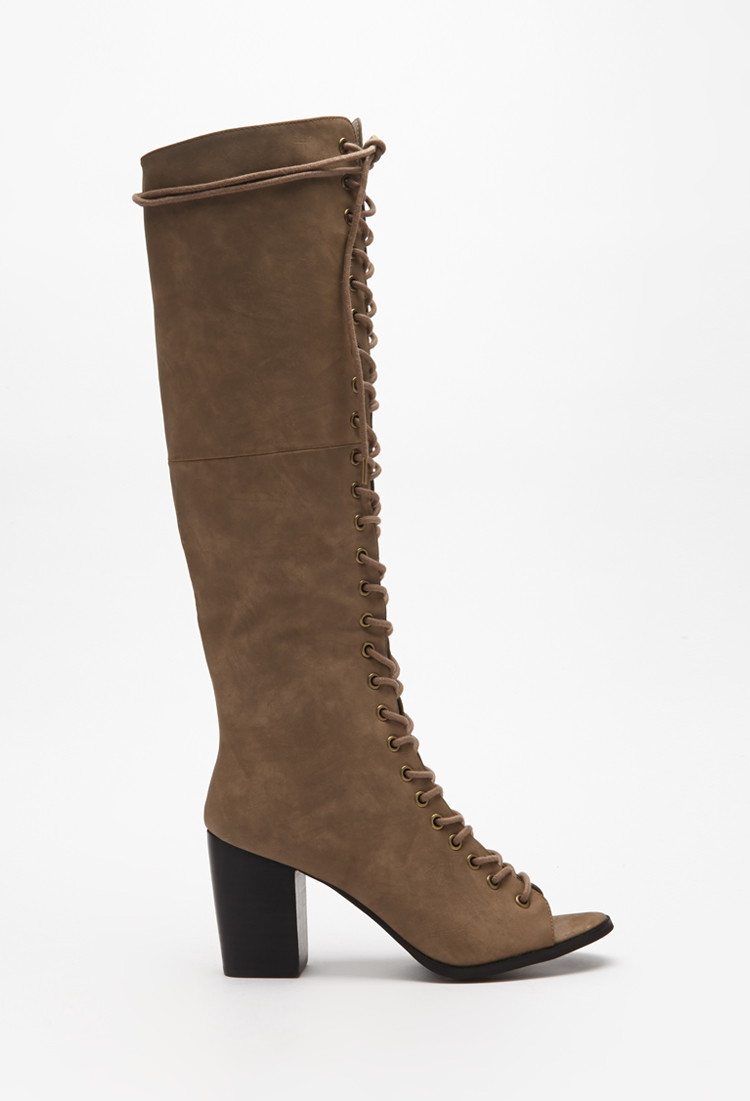 forever 21 lace up the knee boots in brown lyst