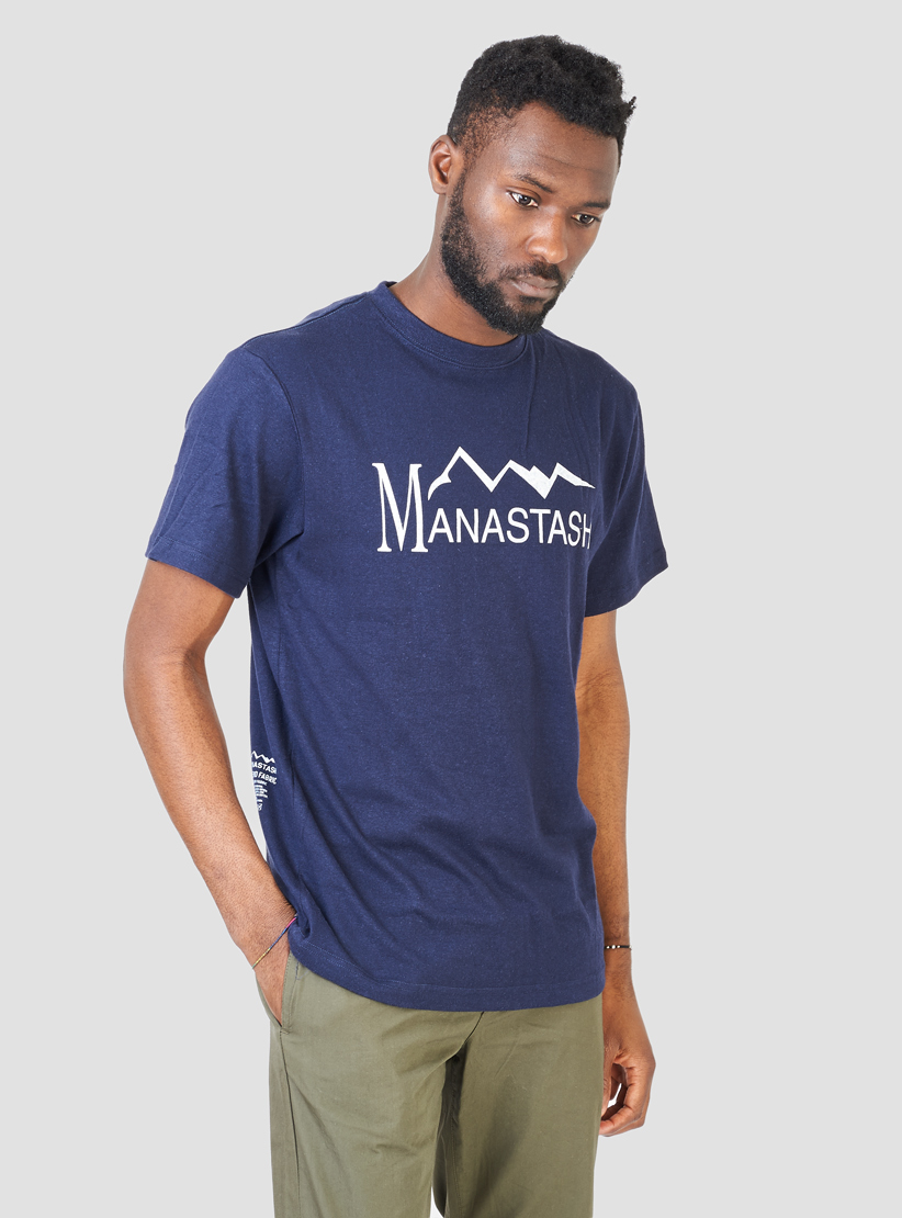 Manastash hemp t shirt navy in blue for men lyst for Mens hemp t shirts