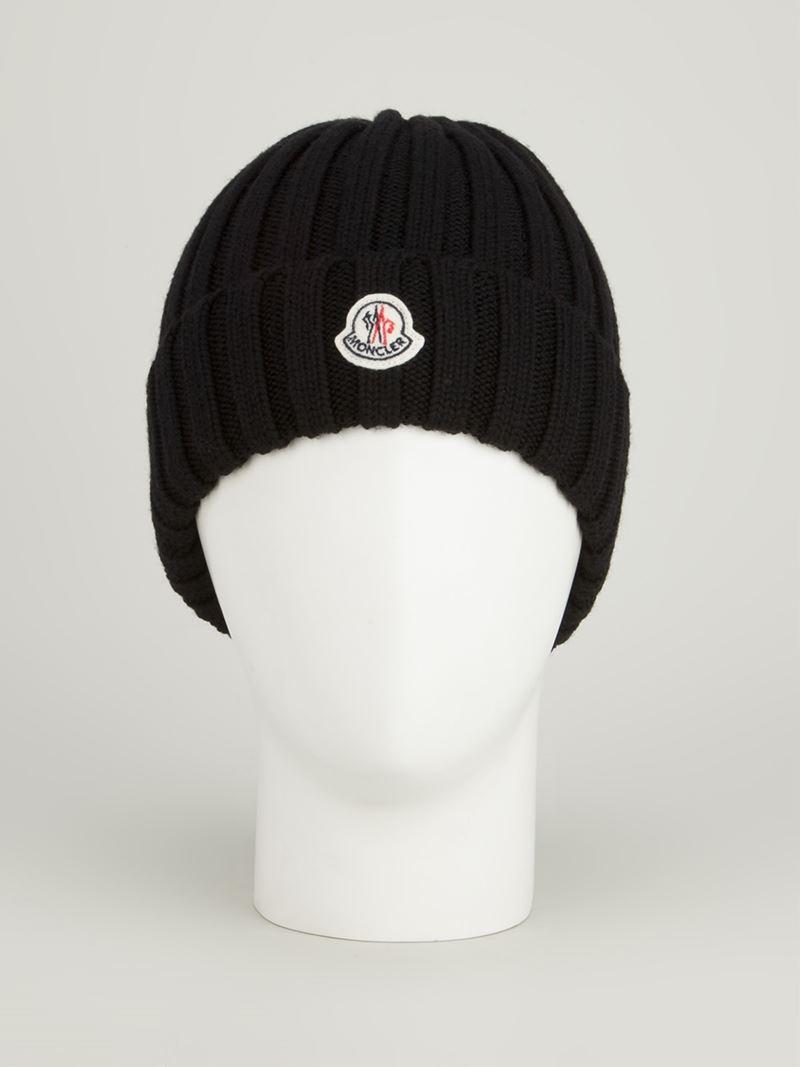 Moncler Ribbed Beanie Hat in Black - Lyst f9bafdf2b59