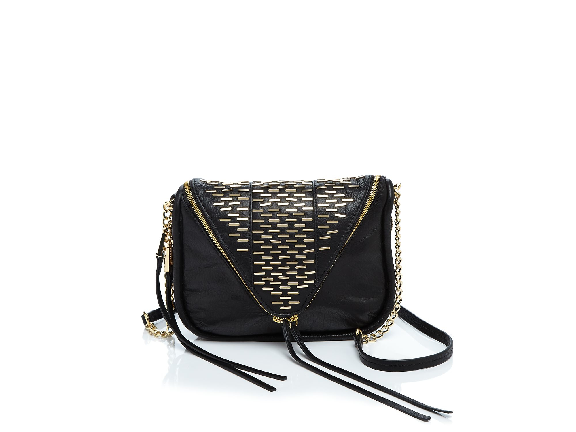 She + Lo Breakthrough Studded Zip Crossbody in Black