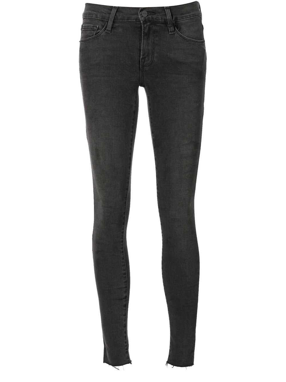 Frame Denim Le Skinny De Jeanne Fray Jeans In Black Lyst