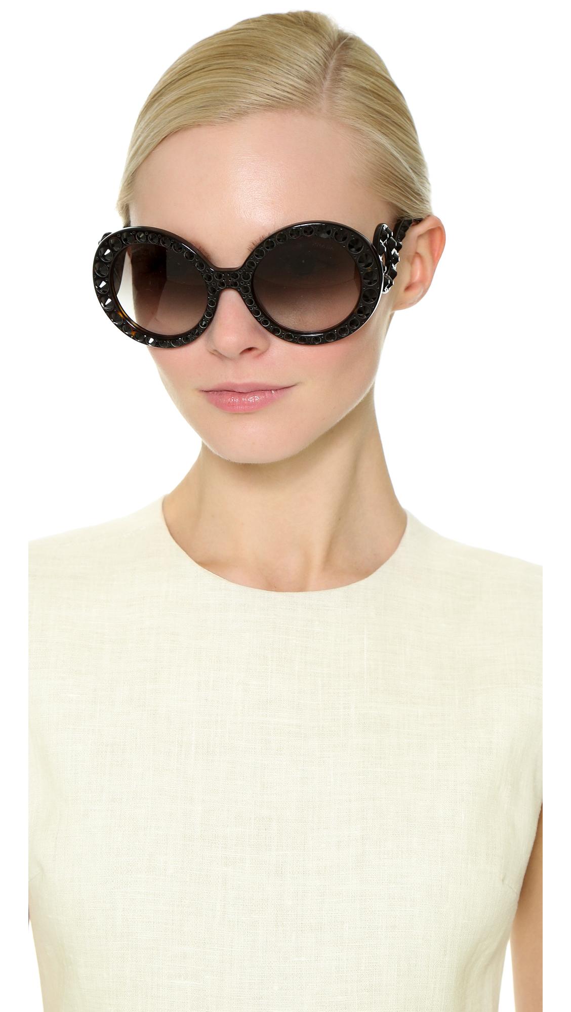 2fef20c4dc ... where to buy lyst prada studded round sunglasses havana grey gradient  in gray 147e6 3a511