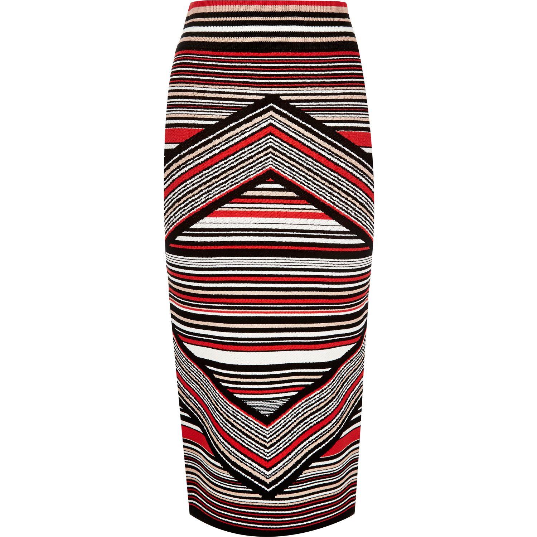 river island stripe knitted midi pencil skirt in