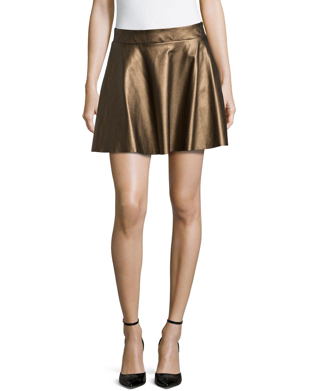 ella moss metallic faux leather circle skirt in metallic