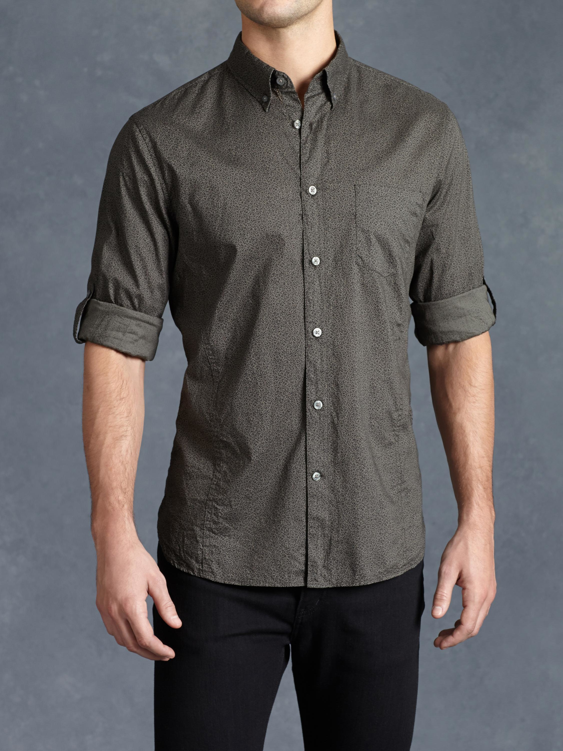 John Varvatos Cotton Abstract Rolled Sleeve Shirt In Gray