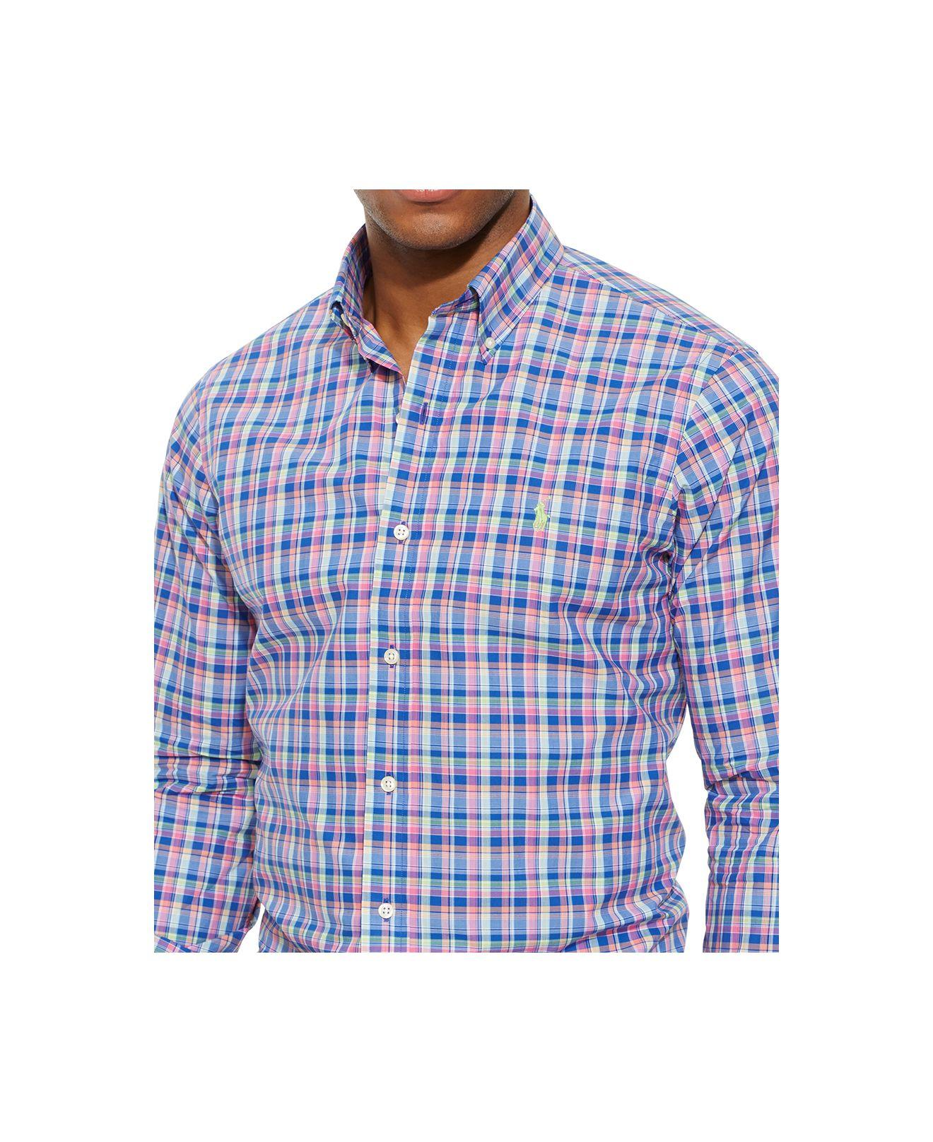 Gallery - Polo Ralph Lauren Plaid Poplin Shirt In Pink For Men Lyst