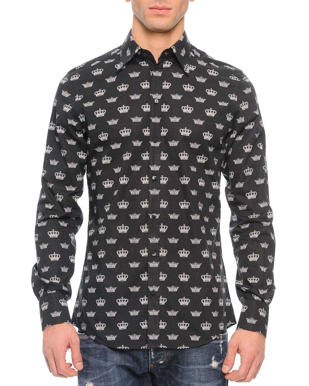 Dolce gabbana allover crown print button down shirt in for Mens black button down shirt