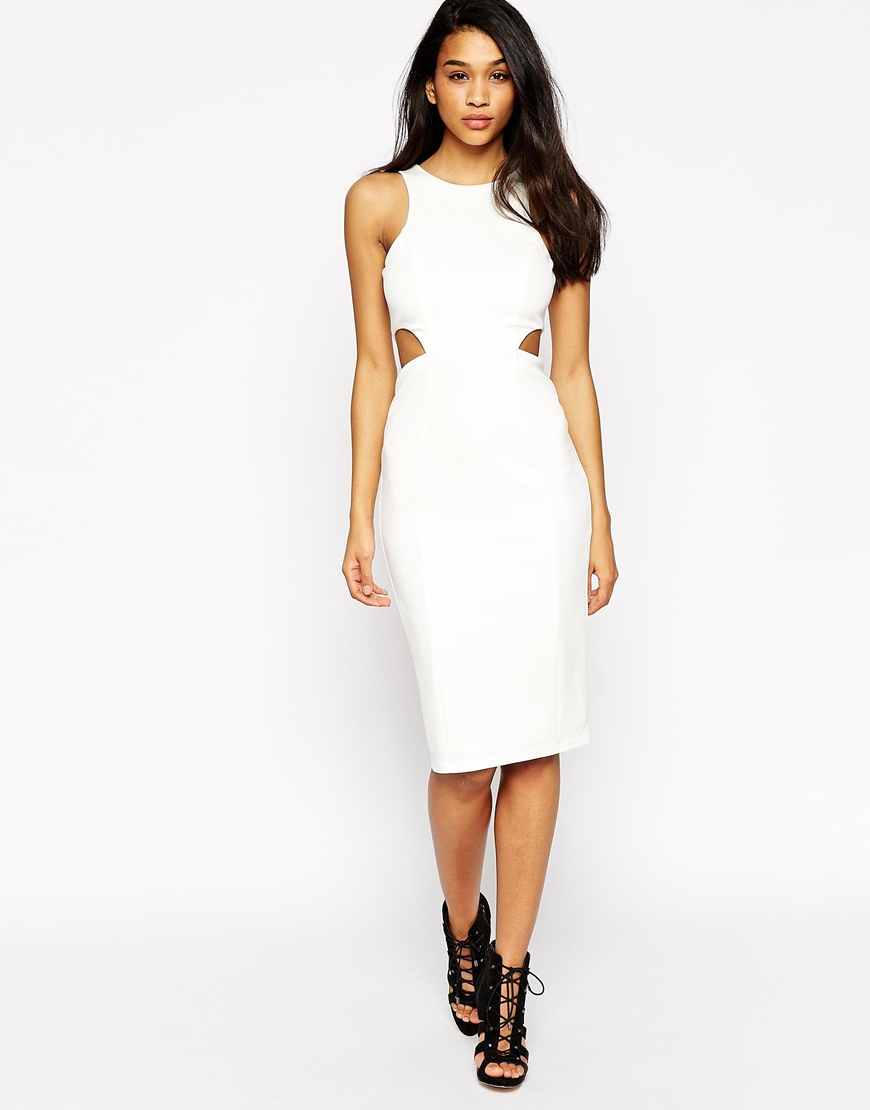 Asos High Neck Cut Out Dress in White | Lyst