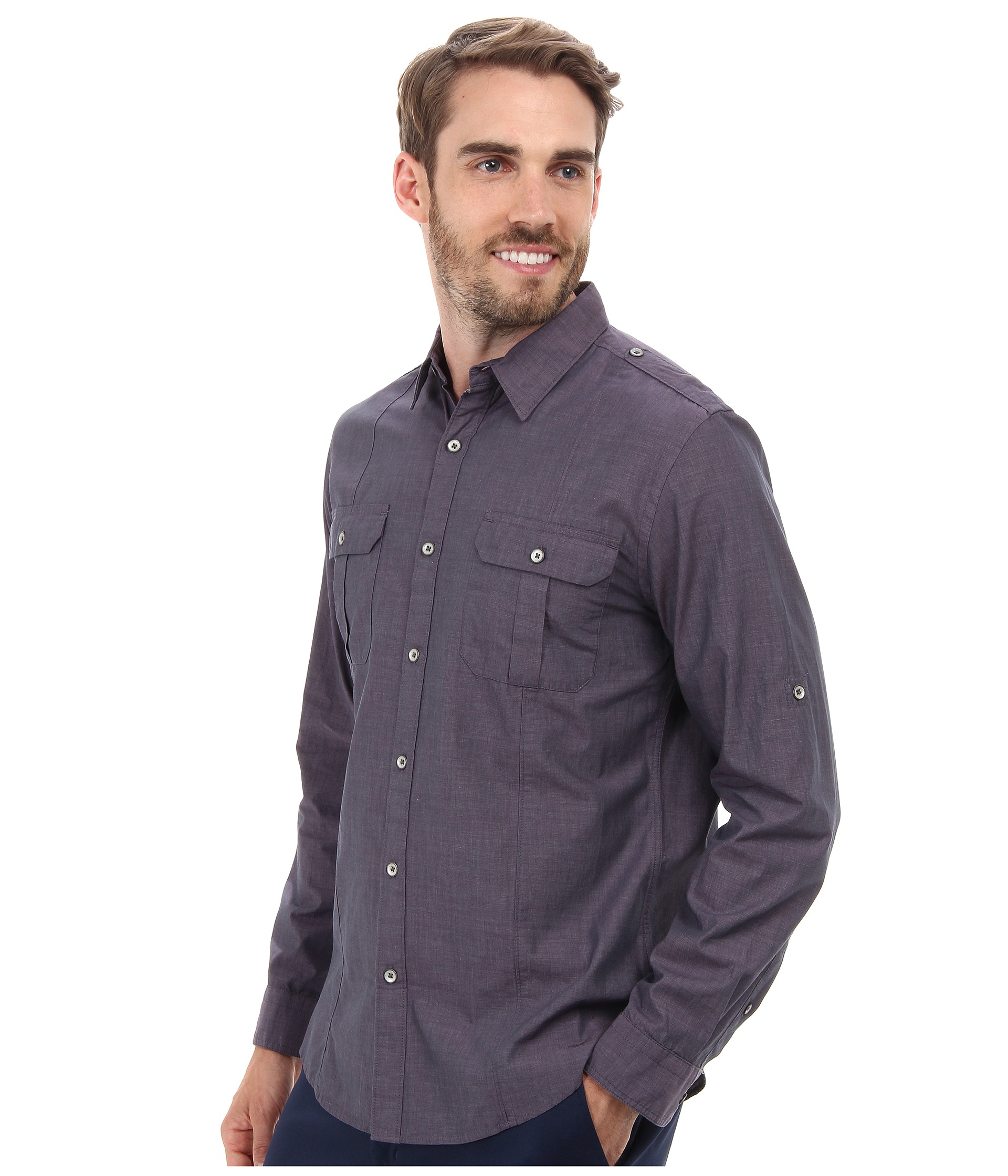 Dkny long sleeve roll tab end on end military shirt in for Men s roll tab sleeve shirts